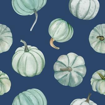 Aquarelpompoenen vallen naadloos patroon, het is perfect voor thanksgiving-kaarten of posters