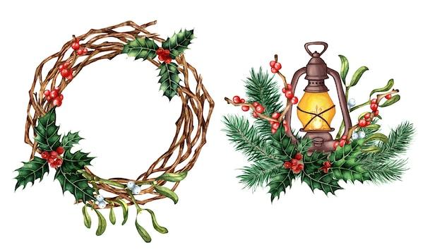 Aquarelset voor kerstmis en nieuwjaar krans en lantaarn feestelijk decor versierd met takken