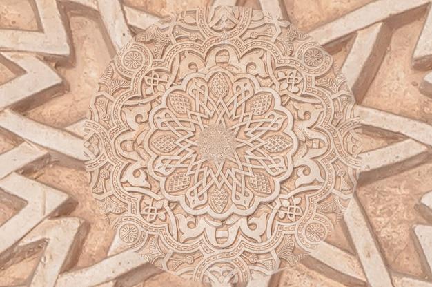 Arabische achtergrond die verwijst naar de islamcultuur. ontwerp gemaakt met droste-effect op een 13e-eeuws architectonisch detail in een moskee.