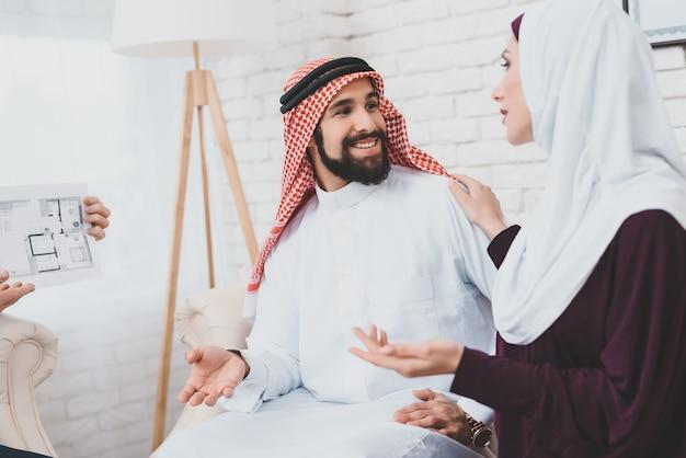 Arabische familie huren thuis kijken kamers lay-out.