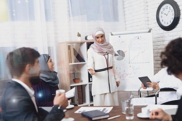 Arabische vrouw in kantoor toont financiële grafiek.