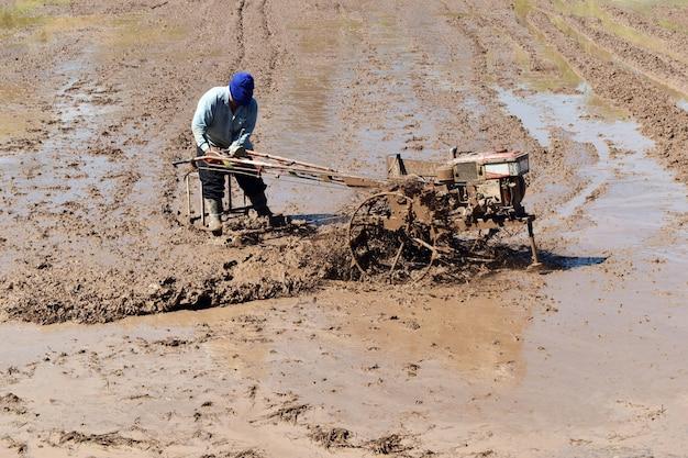 Arbeider ploegen in rijstveld bereiden plant rijst
