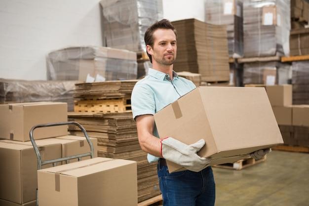 Arbeiders dragende doos in pakhuis
