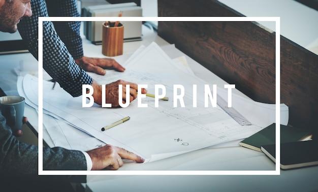 Architect blauwdruk concept idee bouwconcept