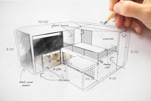 Architect die een huisproject tekent