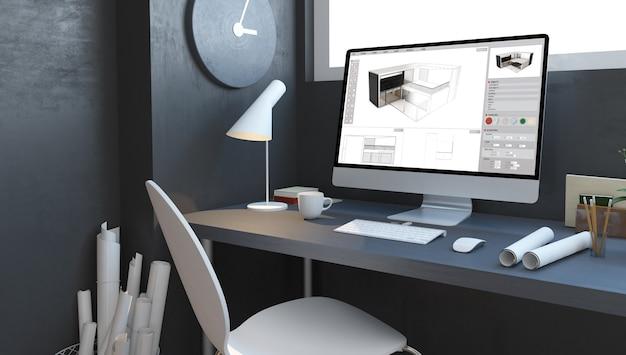 Architect studio met computer 3d-rendering huisontwerp