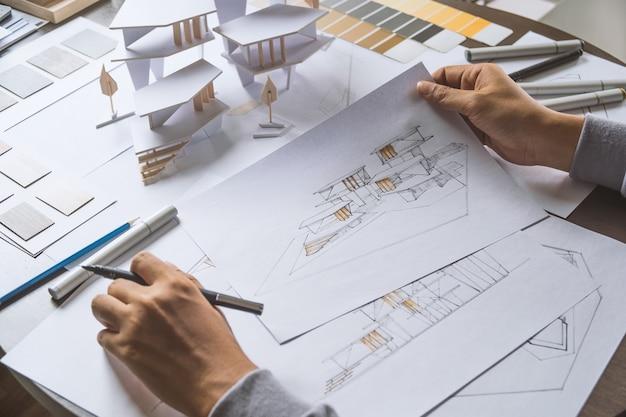 Architect tekening ontwerp architectonisch model kantoor