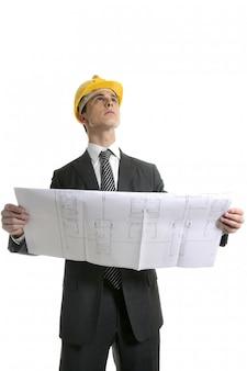 Architect uitvoerende zakenmensen met plannen
