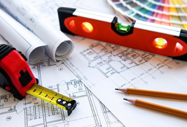 Architect werkplek bovenaanzicht