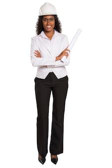 Architect zwarte vrouw met een plan. geïsoleerd.