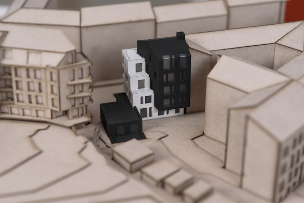 Architectonisch gedetailleerde mock-up van de toekomstige woonwijk.