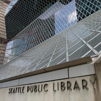 Architectonische details van de centrale bibliotheek van seattle, seattle, washington state, verenigde staten