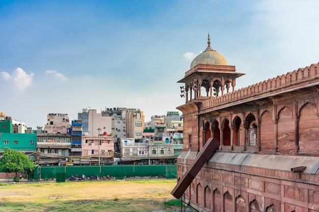 Architecturaal detail van jama masjid-moskee, oud delhi, india.