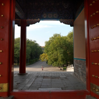 Architecturaal detail van xihe gate, verboden stad, peking, china