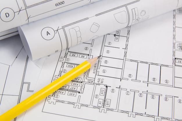 Architecturaal plan. technische huistekeningen, pancil en blauwdrukken.
