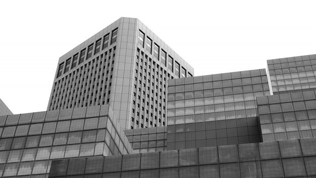 Architectuur die abstract verfijnd fragment van eigentijds kantoorbinnenland bouwt - openbaar gebouw, zwart-wit bouw