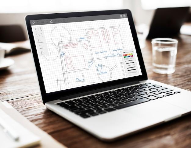 Architectuur plan blauwdruk lay-out werkconcept