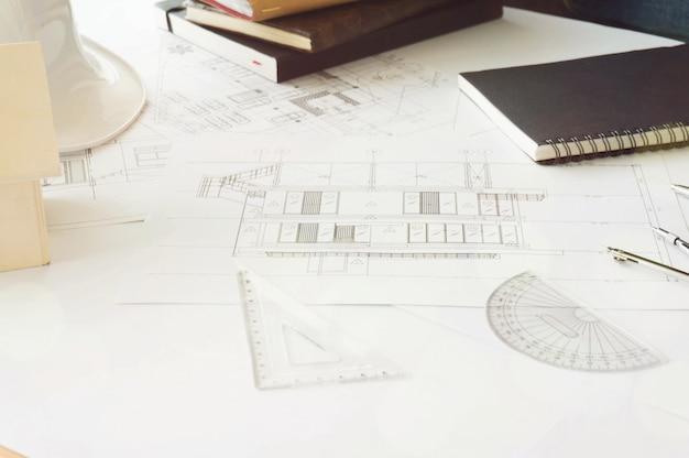 Architectuur tekening bouw achtergrond.