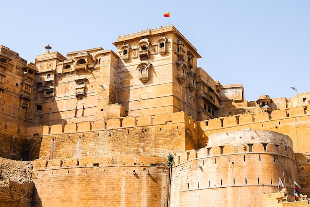 Architectuur van jaisalmer-fort, jaisalmer, rajasthan, india.