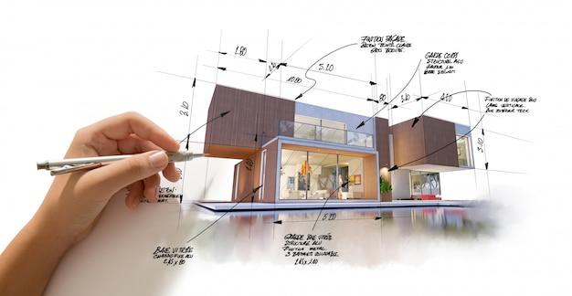 Architectuurproject eindigt en stijl