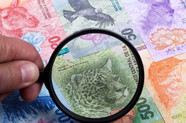 Argentijns geld in een vergrootglas een zakelijke achtergrond