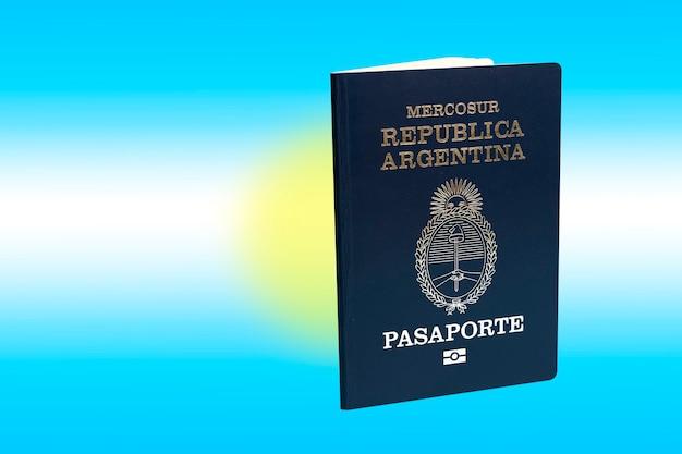 Argentijns paspoort. achtergrond vlag argentijnse kleuren