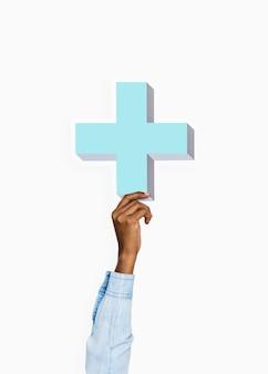 Arm omhoog en vasthouden kruis icoon