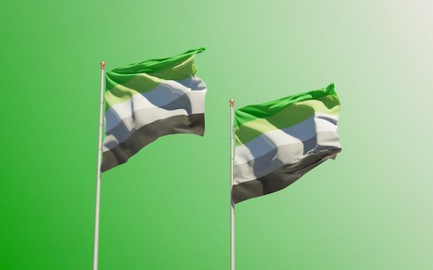 Aromantic pride flags op gekleurde achtergrond