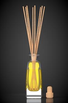 Aromatherapie luchtverfrisser op een zwarte achtergrond. 3d-rendering