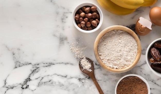 Arrangement van heerlijke gezonde receptingrediënten