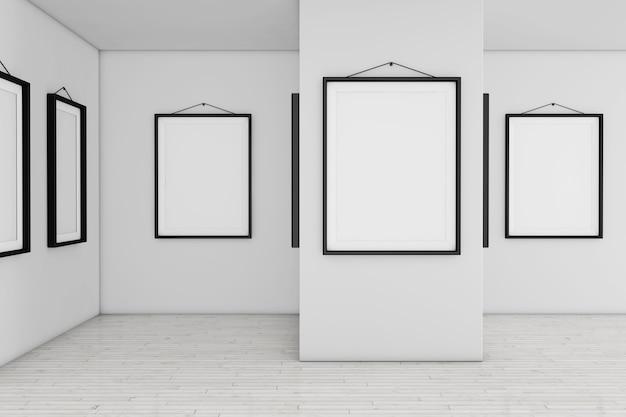 Art gallery museum met witte lege plakkaat mockup frames extreme close-up. 3d-rendering