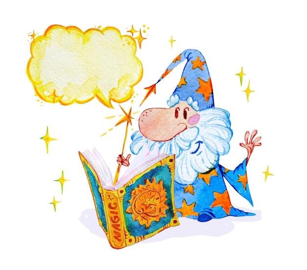Artistieke magische illustratie met hand getrokken artistieke elementen geïsoleerd op een witte achtergrond - korte tovenaar met spreukenboek.