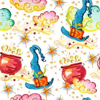 Artistieke magische naadloze patroon illustratie met hand getrokken artistieke elementen geïsoleerd op een witte achtergrond - hoed, ketel, rook.