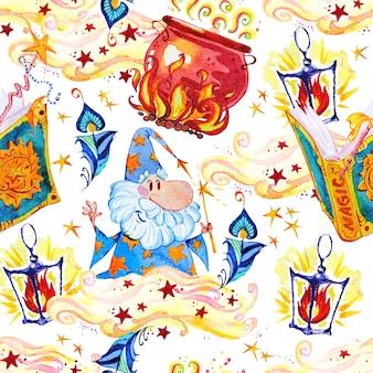 Artistieke magische naadloze patroonillustratie met hand getrokken artistieke elementen die op witte achtergrond worden geïsoleerd - pot, tovenaar, lantaarn.