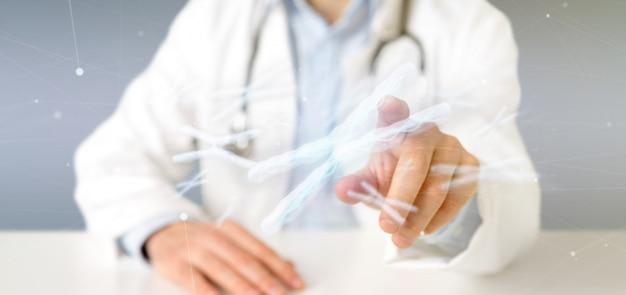 Arts die een groep chromosoom met dna binnen het geïsoleerde 3d teruggeven houdt