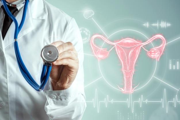 Arts met hologram van het vrouwelijke orgaan van de baarmoeder, ziekten van de baarmoeder en eierstokken, menstruatiepijn. medisch onderzoek, vrouwenconsultatie, gynaecologie.