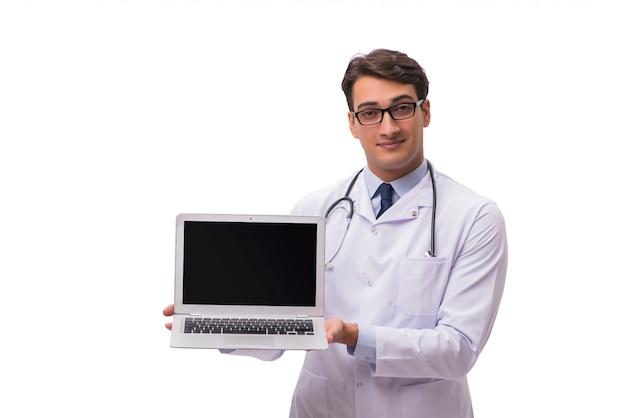 Arts met laptop op wit wordt geïsoleerd dat