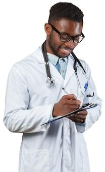 Arts met tikgrafiek op wit wordt geïsoleerd dat