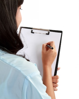 Arts vrouw maken van aantekeningen.