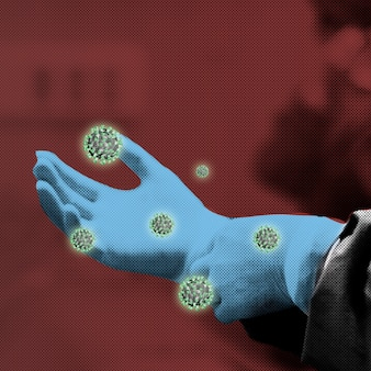 Artsen gehandschoende hand besmet met coronavirusachtergrond