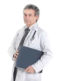 Artsen therapeut is in de documentmap geïsoleerd op een witte achtergrond