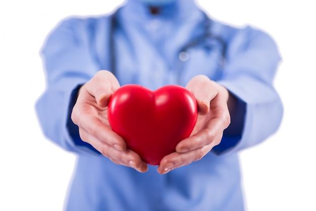 Artsencardioloog op de witte achtergrond wordt geïsoleerd die