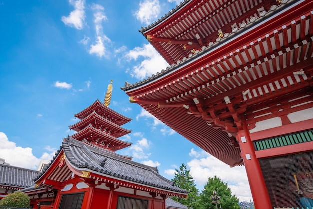 Asakusa, tokio, japan - 19 juni 2018 - sensoji is een oude boeddhistische tempel overdag in asakusa, tokio, japan.