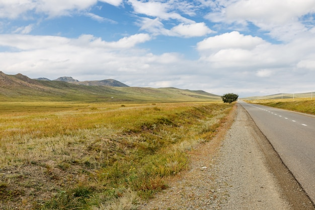 Asfaltweg darkhan-ulaanbaatar in mongolië