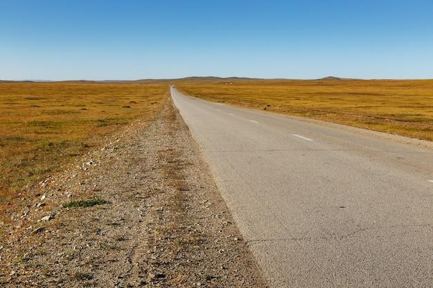 Asfaltweg in de mongoolse steppe, mongolië. bagakhangai choir road