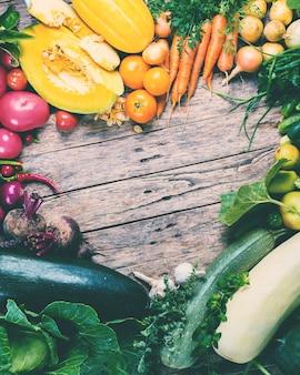 Assortiment fresh organic vegetables frame market