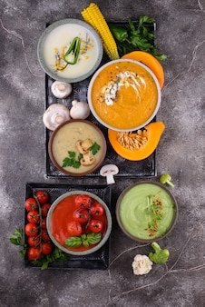 Assortiment groentesoepen herfstroom