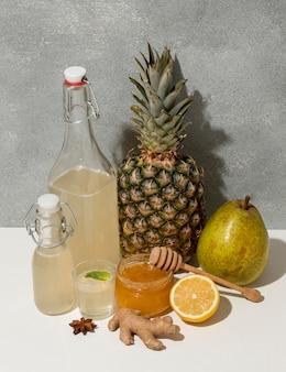 Assortiment met heerlijke gefermenteerde dranken