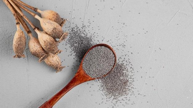 Assortiment plat leggen met lepel vol zaden