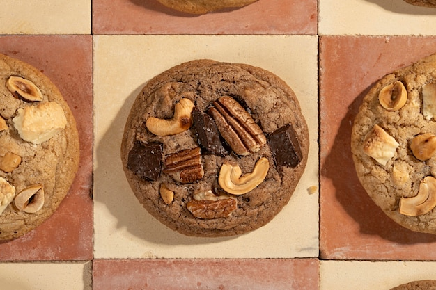 Assortiment platliggende koekjes
